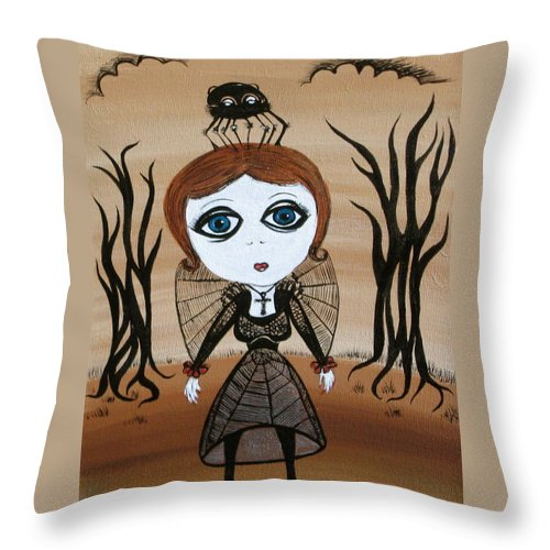Gothic Throw Pillow featuring the painting Miz Goth by Sue Wright