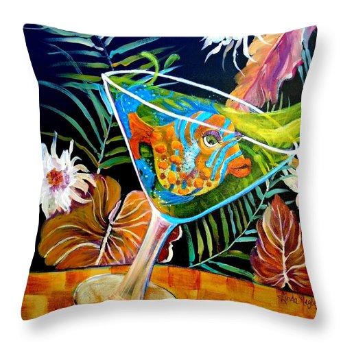 Linda Kegley Throw Pillow featuring the painting Miz Martini by Linda Kegley