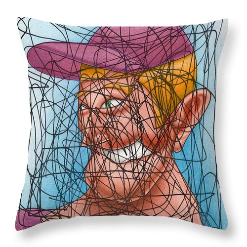 Scribble Throw Pillow featuring the drawing M.l.b. Here I Come by Ismael Cavazos
