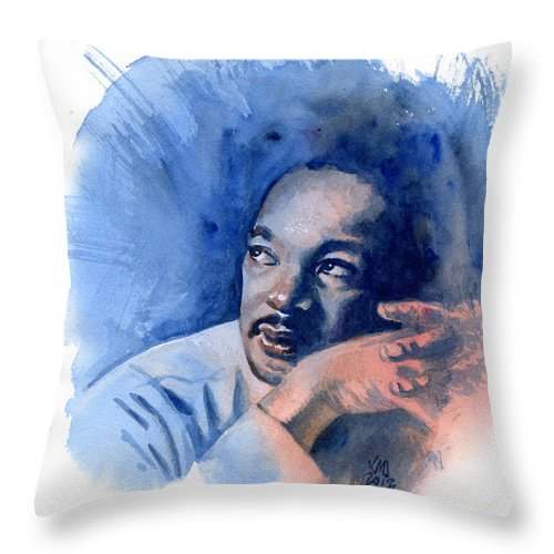 Martin Luther King Jr Throw Pillow featuring the painting Mlk Day by Ken Meyer