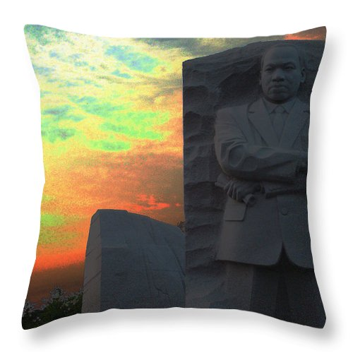 Martin Luther King Throw Pillow featuring the photograph Mlk Sunset by Geoffrey McLean