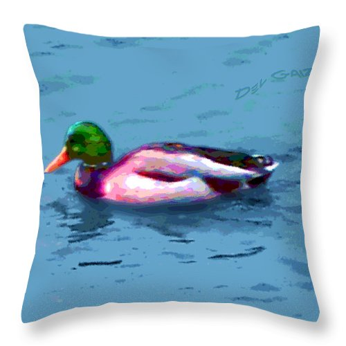 Duck Throw Pillow featuring the photograph M'lord Mal Lard by Del Gaizo