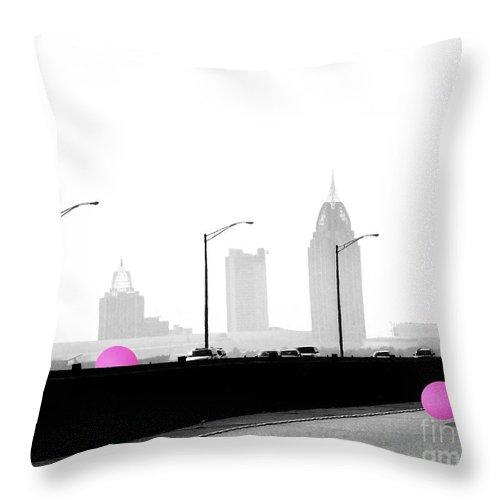 Mobile Throw Pillow featuring the digital art Mobile Bay Ball by Lizi Beard-Ward