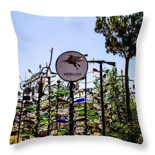 Bottleneck Ranch Throw Pillow featuring the photograph Mobilgas by Angus Hooper Iii