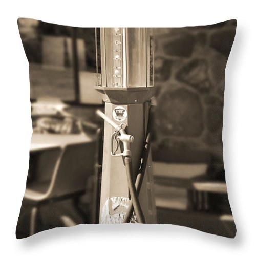 Mobilgas Throw Pillow featuring the photograph Mobilgas Visible Gas Pump 2 by Mike McGlothlen