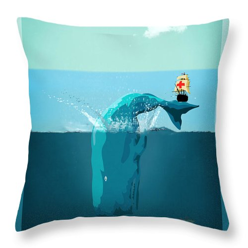Moby Dick Throw Pillow featuring the digital art Moby Dick by Mark Ashkenazi