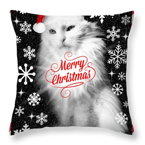 Christmas Throw Pillow featuring the photograph Mod Cards - I'm A Star Baby I'm A Christmas Star - Merry Christmas by Aurelio Zucco