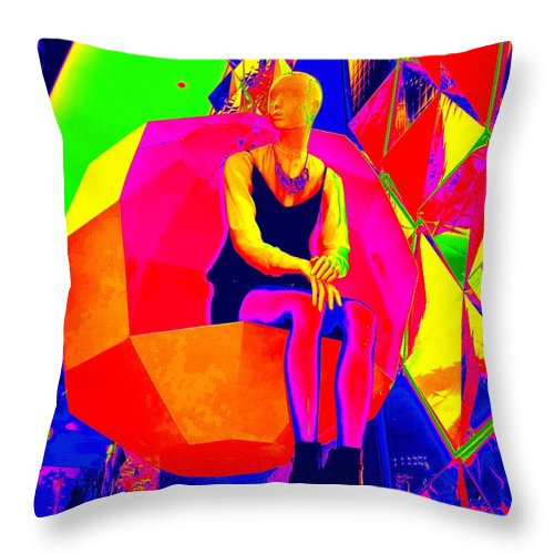 Pop Art Throw Pillow featuring the digital art Mod Muse by Ed Weidman