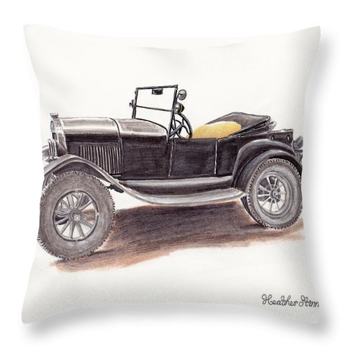 Model T Throw Pillow featuring the drawing Model T. by Heather Stinnett