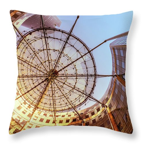 Corporate Business Throw Pillow featuring the photograph Modern Architecture With Sun Shade by Warchi