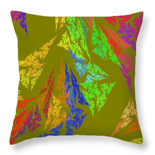 Triangles Throw Pillow featuring the photograph Modern Art Abstract Fractal Green Background by Keith Webber Jr