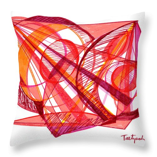 Modern Drawing Throw Pillow featuring the drawing Modern Drawing Seventy-one by Lynne Taetzsch