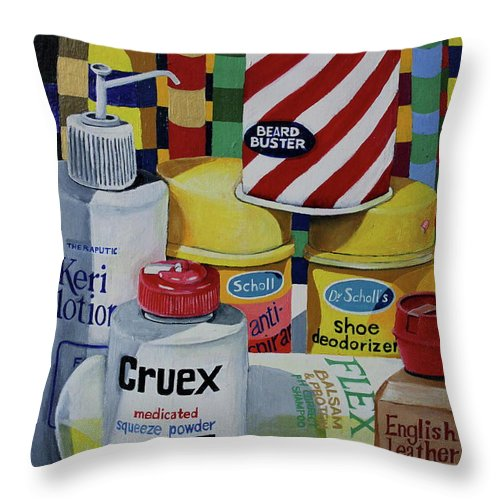 Shaving Cream Throw Pillow featuring the painting Modern Still Life by Don Martinelli