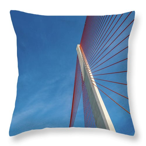 Hanging Throw Pillow featuring the photograph Modern Suspension Bridge by Phung Huynh Vu Qui