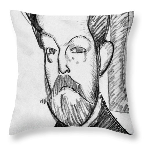 1909 Throw Pillow featuring the drawing Modigliani - Paul Alexander by Granger