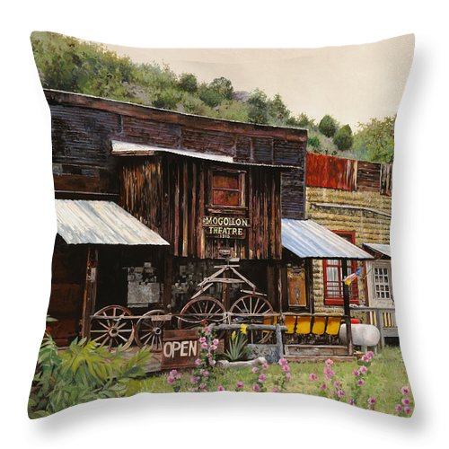 Theatre Throw Pillow featuring the painting Mogollon-theatre-new Mexico by Guido Borelli