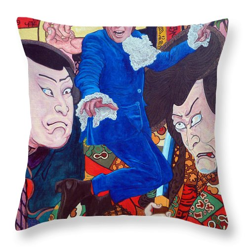 Austin Powers Throw Pillow featuring the painting Mojo Baby by Tom Roderick