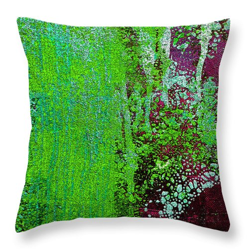 Abstract Throw Pillow featuring the painting Molten Earth Lime by Kusum Vij