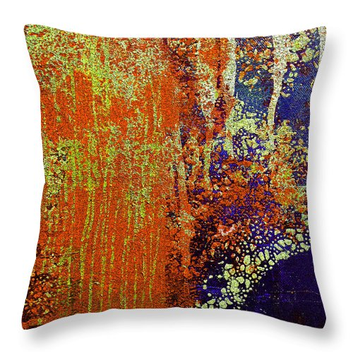 Abstract Throw Pillow featuring the painting Molten Earth Orange by Kusum Vij
