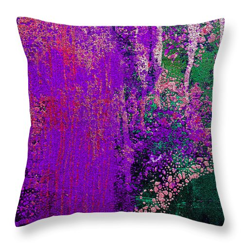 Abstract Throw Pillow featuring the painting Molten Earth Purple by Kusum Vij