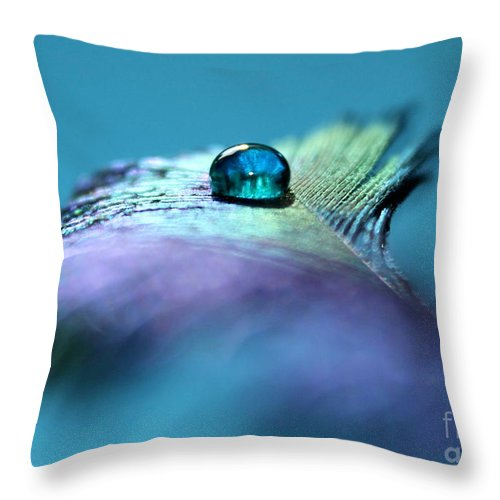 Peacock Feather Throw Pillow featuring the photograph Moment Of Peace by Krissy Katsimbras