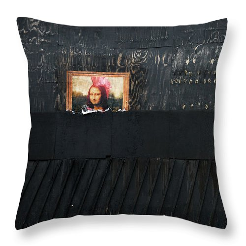 Banksy Throw Pillow featuring the photograph Mona Lisa and others on the street by RicardMN Photography