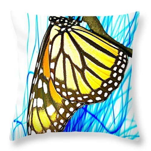 Monarch Butterfly Throw Pillow featuring the photograph Monarch Spark by Anthony Scarpace