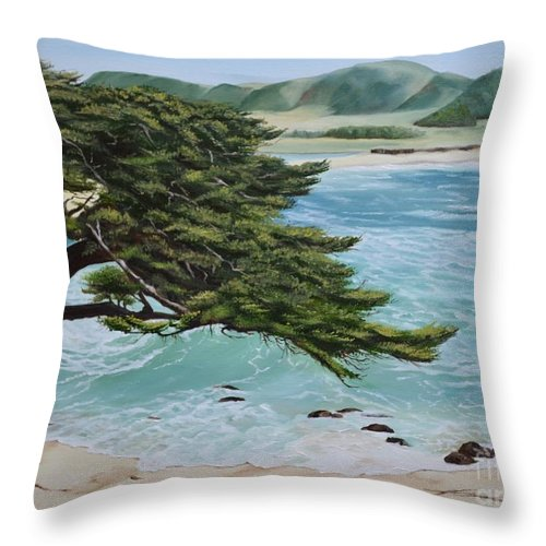 Beach Throw Pillow featuring the painting Monastery Beach by Mary Rogers