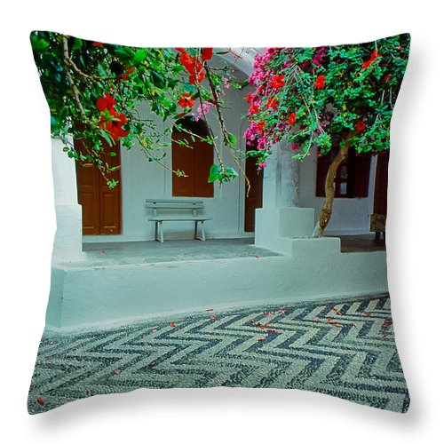 Greece Throw Pillow featuring the photograph Monastery Symi Greece by Jeff Black