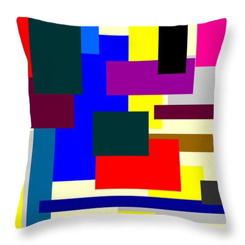 Mondrian Composition Throw Pillow featuring the digital art Mondrian Composition by Celestial Images