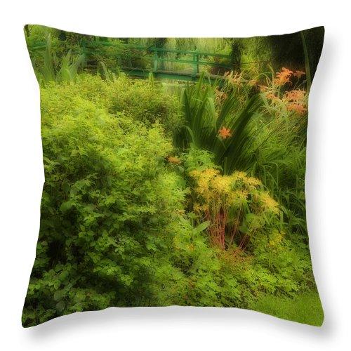 Garden Throw Pillow featuring the photograph Monet's Garden Dreamscape by Sharon M Connolly