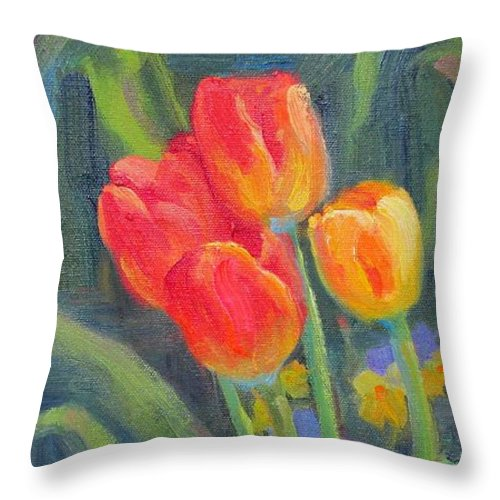 Tulips Throw Pillow featuring the painting Monets Tulips by Bunny Oliver
