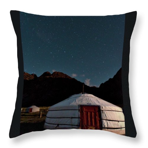 The Big Dipper Shines Over Our Yurt At The Khankhar-uul Camp In Throw Pillow featuring the photograph Mongolia By Starlight by Alan Toepfer