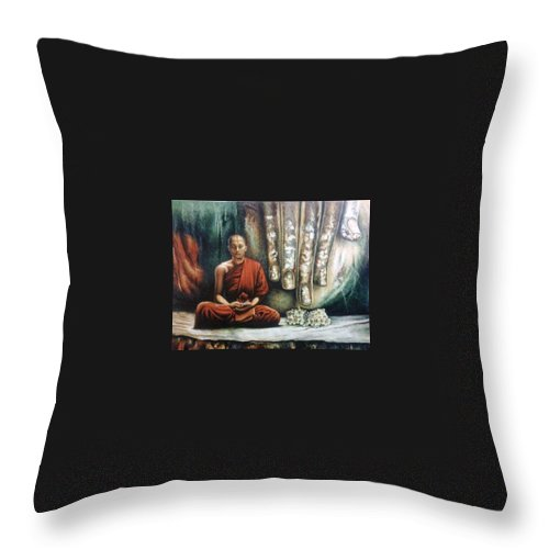 Monk Throw Pillow featuring the painting Monk In Meditation by Yokami Arts