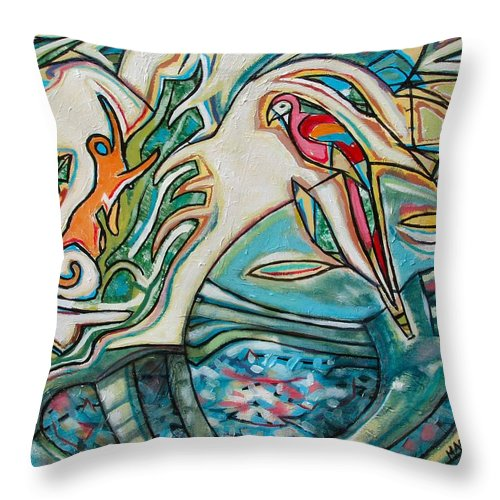 Monkey And Macaw Throw Pillow featuring the painting Monkey And Macaw by Marcio Melo