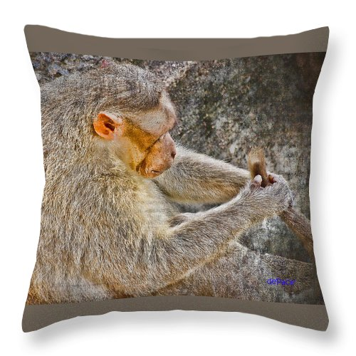My Tail Throw Pillow featuring the digital art Monkey Playing With Tail by KJ DePace