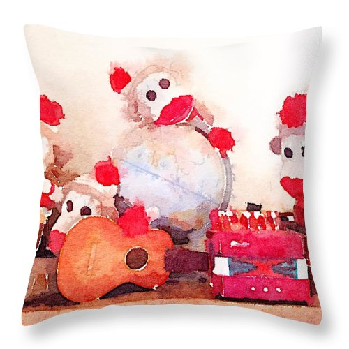 Waterlogue Throw Pillow featuring the digital art Monkeys And Music by Shannon Grissom