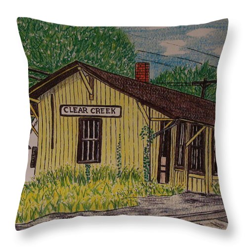 Monon. Monon Train Throw Pillow featuring the painting Monon Clear Creek Indiana Train Depot by Kathy Marrs Chandler