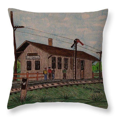Monon Throw Pillow featuring the painting Monon Ellettsville Indiana Train Depot by Kathy Marrs Chandler