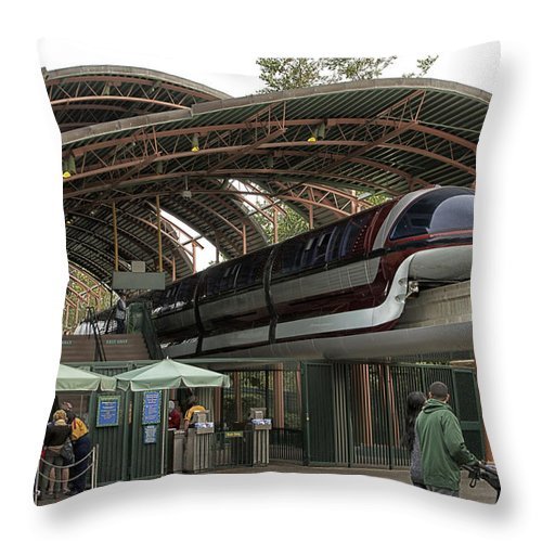 Rail Throw Pillow featuring the photograph Monorail Depot Disneyland 02 by Thomas Woolworth