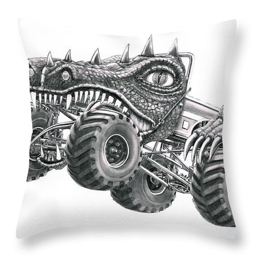Monster Throw Pillow featuring the drawing Monster Truck by Murphy Elliott