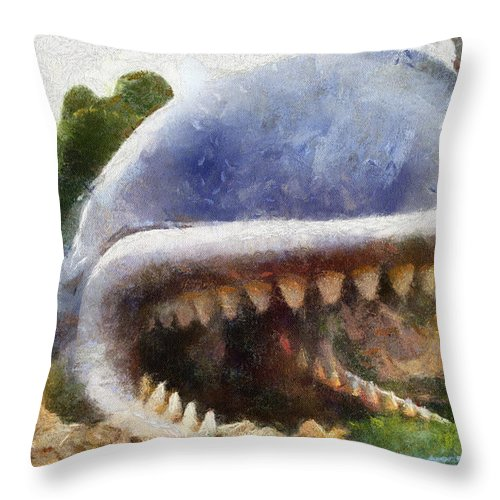 Disney Throw Pillow featuring the photograph Monstro The Whale At Disneyland All Teeth Photo Art by Thomas Woolworth