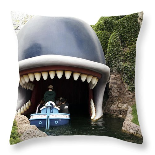 Disney Throw Pillow featuring the photograph Monstro The Whale Boat Ride At Disneyland by Thomas Woolworth