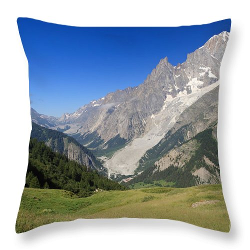 Alpine Throw Pillow featuring the photograph mont Blanc from Ferret valley by Antonio Scarpi