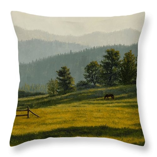 Montana Throw Pillow featuring the painting Montana Morning by Crista Forest