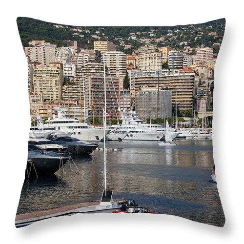 Monte Carlo Throw Pillow featuring the photograph Monte Carlo Sailing - Monaco French Riviera by Georgia Mizuleva