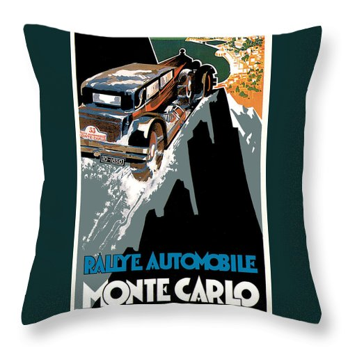 Advertisement Throw Pillow featuring the drawing Monte Carlo - Vintage Poster by World Art Prints And Designs