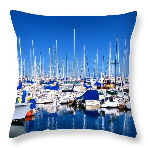 Monterey Throw Pillow featuring the photograph Monterey Bay Yacht Club 19704 by Jerry Sodorff