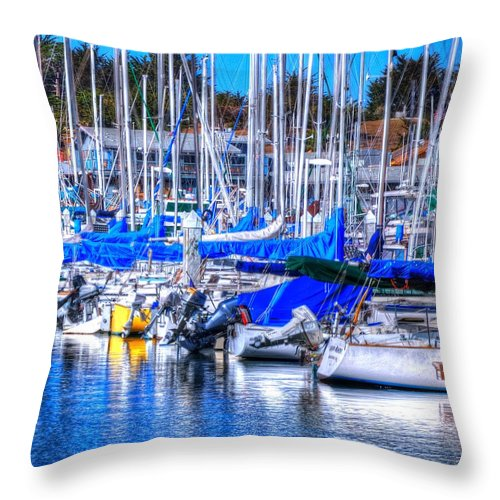 Monterey Throw Pillow featuring the photograph Monterey Bay Yacht Club Sterns 19734 by Jerry Sodorff
