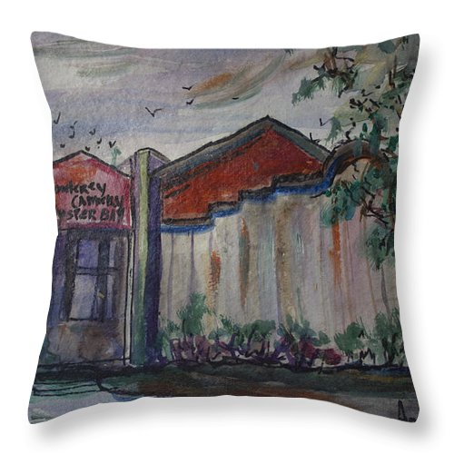 Restaurant Throw Pillow featuring the painting Monterey Oyster Bar At Ocenside Harbor by Avonelle Kelsey